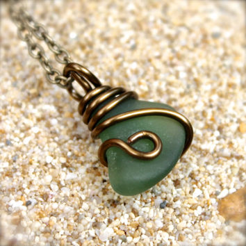 Sea Glass Jewelry made in Hawaii, seaglass wire wrap pendant, Hawaiian jewelry by Mermaid Tears, green sea glass necklace, seaglass jewelry
