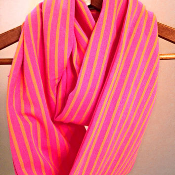 Pink Coquina Scarf. Women's Pink and Orange Infinity Scarf Knit Spring Scarf Striped