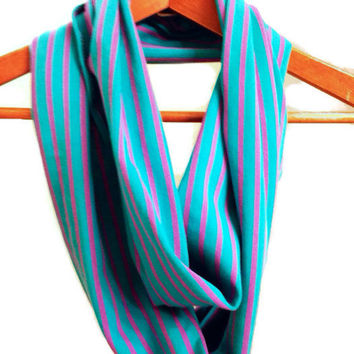 Blue Coquina Scarf. Women's Blue and Purple Stripe Infinity Scarf Spring Scarf Knit Stripes for Women Teens or Girls