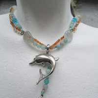 Happy Dolphin in BlueNecklace by BijouxEmmElle on Etsy