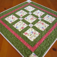 Table Topper Floral Squares | PatchworkMountain - Quilts on ArtFire