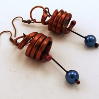 Copper Spiral Earrings. Royal Blue Glass Pearls. Celtic Design | GaelicForge - Jewelry on ArtFire