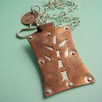 Mixed Metal Bamboo Copper And Sterling Silver Pendant Necklace | mocahete - Jewelry on ArtFire