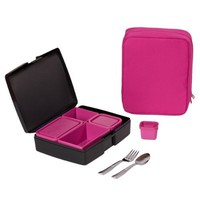 Bento Lunch Box Combo - Includes Bento Box, Insulated Sleeve and Utensils - Perfect for School and Travel - Pink