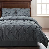 Emerson 4-Piece Pinch Pleat Puckering Comforter Mini Set , Queen, Charcoal