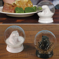 $11.99 Snow Globe Bears Salt and Pepper Shakers - Perpetual Kid