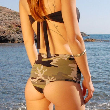 High-Waisted Brazilian Thong OR Moderate Bikini Bottom PAMPELONNE in Camo, by Makani Dream Swimwear