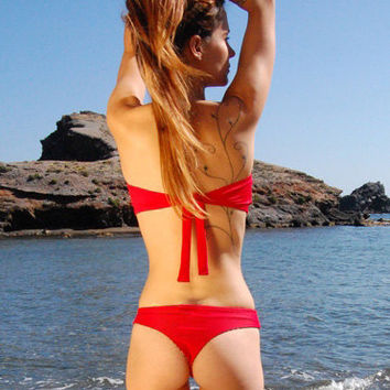 Brazilian Thong Bikini Bottom TARIFA in Ruby Red, by MAKANI DREAM Swimwear