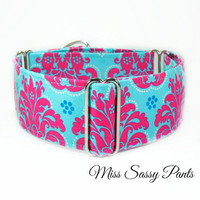 Pink and Teal Dog Collar, Buckle Collar, Italian Greyhound Martingale Collar, 2 inch Whippet Collar, Wide Great Dane Collar, Hound Collar