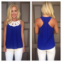 By the Shore Crochet Sleeveless Blouse - ROYAL BLUE