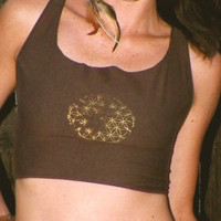 Antiqued Flower of Life Woven Crop Top by SpiritTribe on Etsy