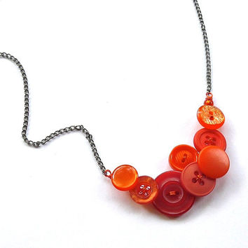 Bright Orange Button Necklace