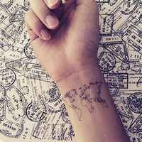 2pcs World Map Love Travel Wrist tattoo - InknArt Temporary Tattoo - wrist quote tattoo body sticker fake tattoo wedding tattoo small tattoo