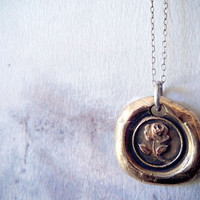 Bronze Rose Wax Seal Necklace from Antique by RenataandJonathan