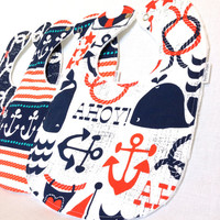 Baby Bib Set - Modern Baby Bib Set- Nautical Baby Bib Set - Michael Miller Ahoy Matey Bibs - White Minky Fabric Backing- Handmade Baby Gift