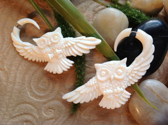 Fake Gauge Earrings Owl Design Naturally Organic by DewiDesign