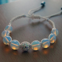 Moonstone white Shamballa Bracelet gemstone, Fertility Bracelet,  Opal jewelry gift for her
