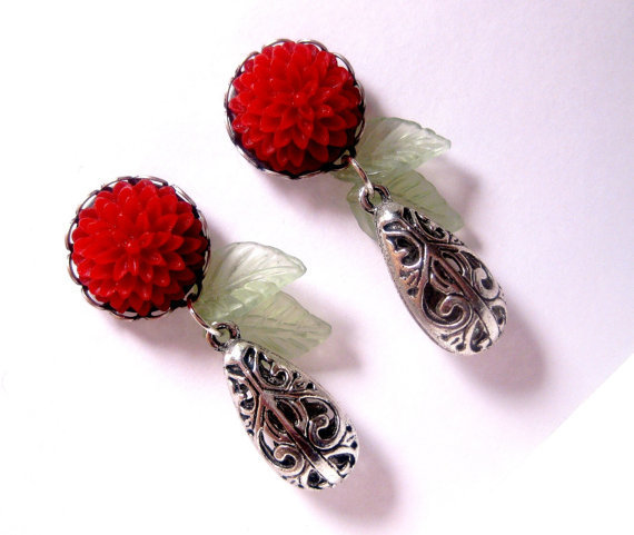 Red Flower Green Leaf Earrings  Dangle by FashionCrashJewelry