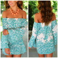Angelic Gardens Teal Off-Shoulder Tunic