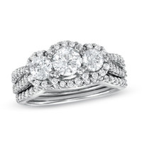 1-1/2 CT. T.W. Diamond Three Stone Frame Bridal Set in 14K White Gold - View All Rings - Zales
