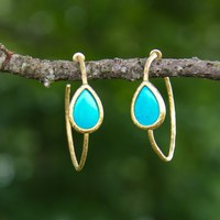 Struck Gold Earrings-Turquoise