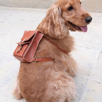$118.00 Personalized Dog Backpack Leather Hand Stitched by harlex