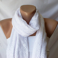 Tulle White Shawl wrap scarf by Periay on Etsy