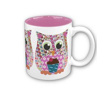 Appliqué Patch Pink Owl Mug from Zazzle.com