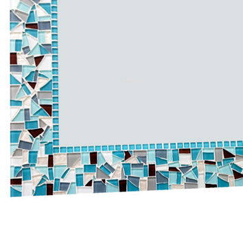 Mosaic Wall Mirror in Aquas, Browns, Grays