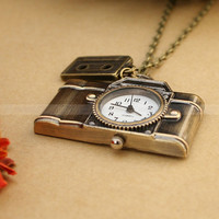 Vintage camera pocket watch charm necklace with antique by mosnos
