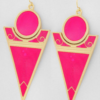 Pink Lipstick Gold and Neon Pink Statement Earrings