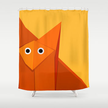 Geometric Cute Origami Fox Portrait Shower Curtain by Boriana Giormova | Society6