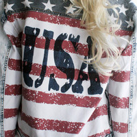 4th of July - Southern Girl - USA - American Flag - Red White and Blue lightweight Denim Jacket - Patriotic Pride - FREE Shipping in the USA
