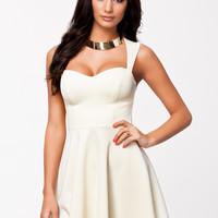 KEYHOLE BACK DRESS - WHITE SKATER DRESS