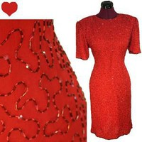 Vintage 80s RED Sequin BEADED Cocktail Party Prom Dress L Sheath Glam Diva Beads | eBay