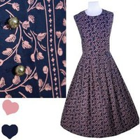 Navy Blue PINK Floral German Austrian Oktoberfest Trachten DIRNDL Dress L Cotton | eBay