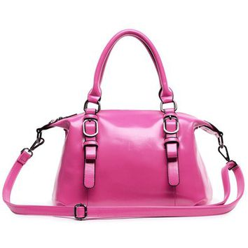 Solid Color Double Handle Tote Bag Handbag with Shoulder Strap