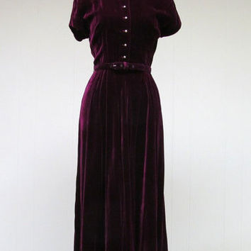 Vintage Tea-length Short Sleeves Velvet One-piece Dress