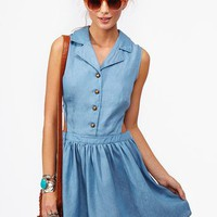 Chambray Cutout Dress in What&#x27;s New at Nasty Gal