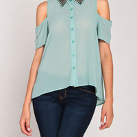 Beaded Collar Open Shoulder Top in Faded Mint