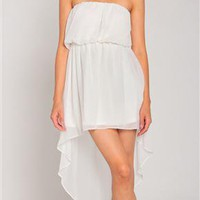 Summer Hi Low Chiffon Dress in Cream