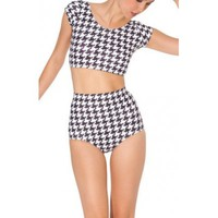 Hounds Tooth Nana Galaxy Print Crop Top & High Waist Bottom Two Piece Swimsuit Set