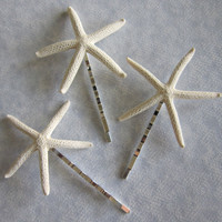 The 34 Starfish Hair Pin  Natural White by whitedahliadesigns