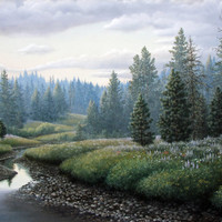 Mike Stinnett Original Painting of a Mountain Meadow and Stream