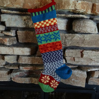 Hand Knit Christmas Stocking Patchwork design with Blue Snowflakes, Red Vine and Blue Heel - Can be Personalized