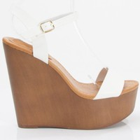 Breckelle Emily-34 Leatherette Two Tone Open Toe Ankle Strap Platform Wedge