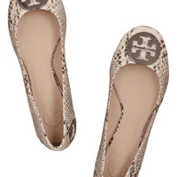 Tory Burch - Reva snake-effect leather ballet flats