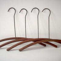 Vintage Wood and Wire Hangers / Set of 4 by urgestudio on Etsy