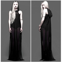 Chiffon jersey hooded sleeveless gown with side slits. Thin semi-sheer mesh allows you to feel the evening breeze on your skin wile the hood is perfect for hiding our face from the wicked sun. Bodysuit not included. Unlined.