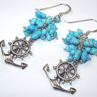 Anchor Earrings  Sleeping Beauty Turquoise Cluster Sailing Earrings Nautical Jewelry